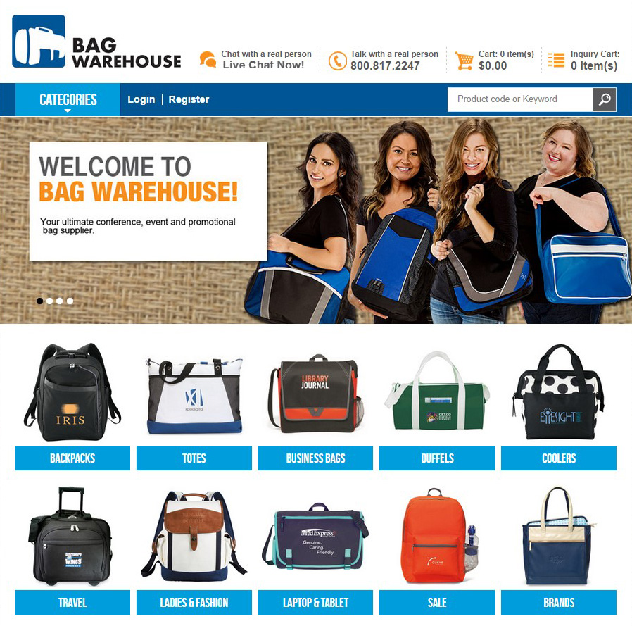 Bag Warehouse eCommerce Division site