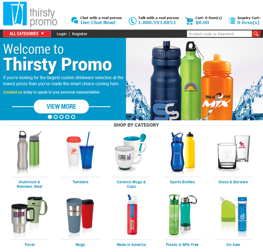 Thirsty Promo eCommerce Division site